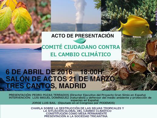 Presentación del Comité Ciudadano contra el Cambio Climático en Tres Cantos  (Madrid)
