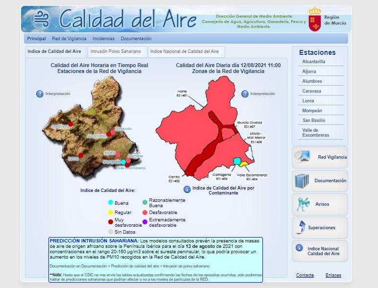 Imagen de la web Sinqlair, de la Dirección General de Medio Ambiente Consejería de Agua, Agricultura, Ganadería, Pesca y Medio Ambiente