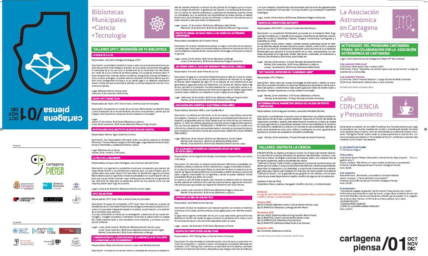 Programación de octubre a diciembre de Cartagena Piensa Hoja 2.