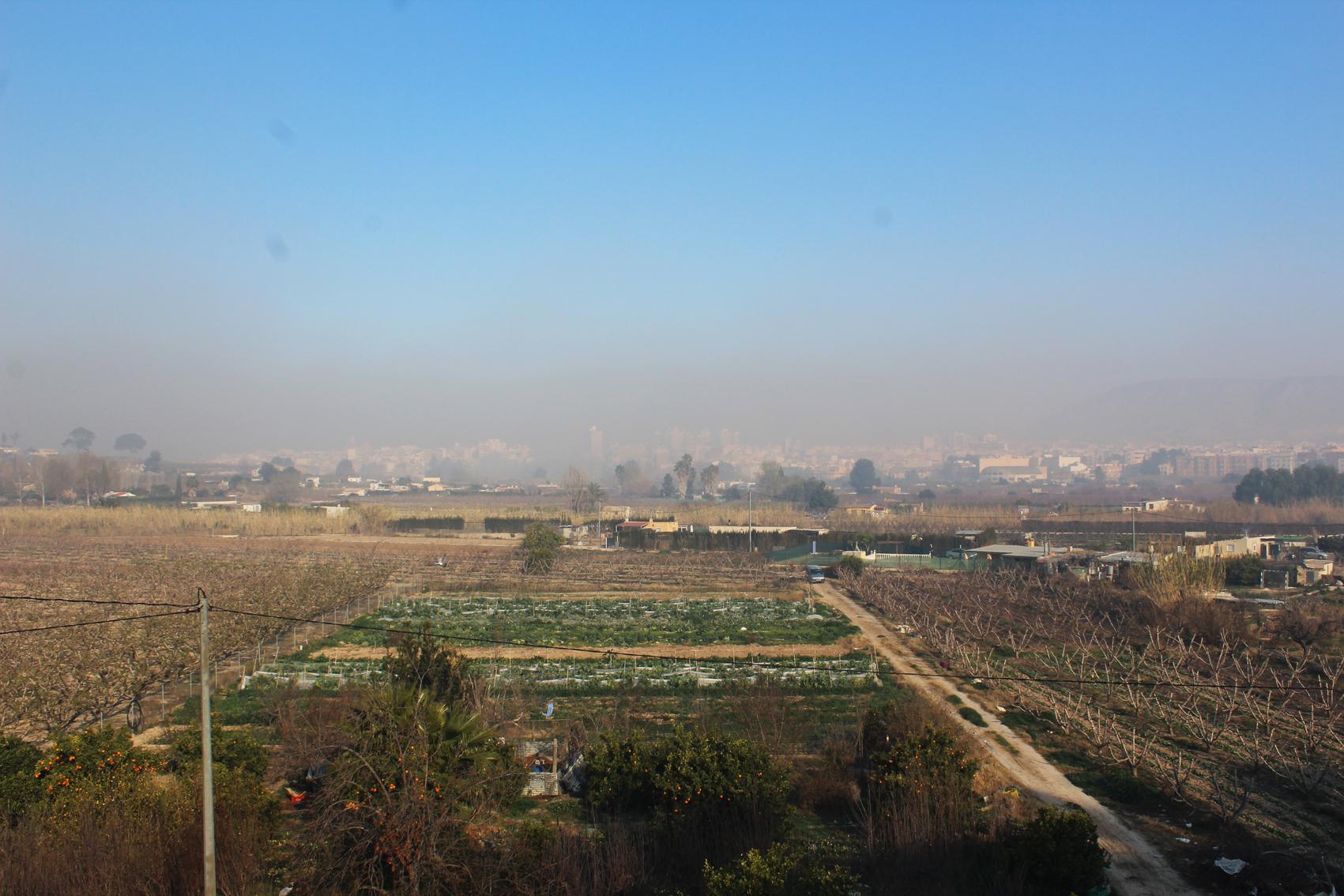 Cieza envuelta en humo de quemas agrícolas para combatir heladas de fruta extratemprana. Imagen: EEA