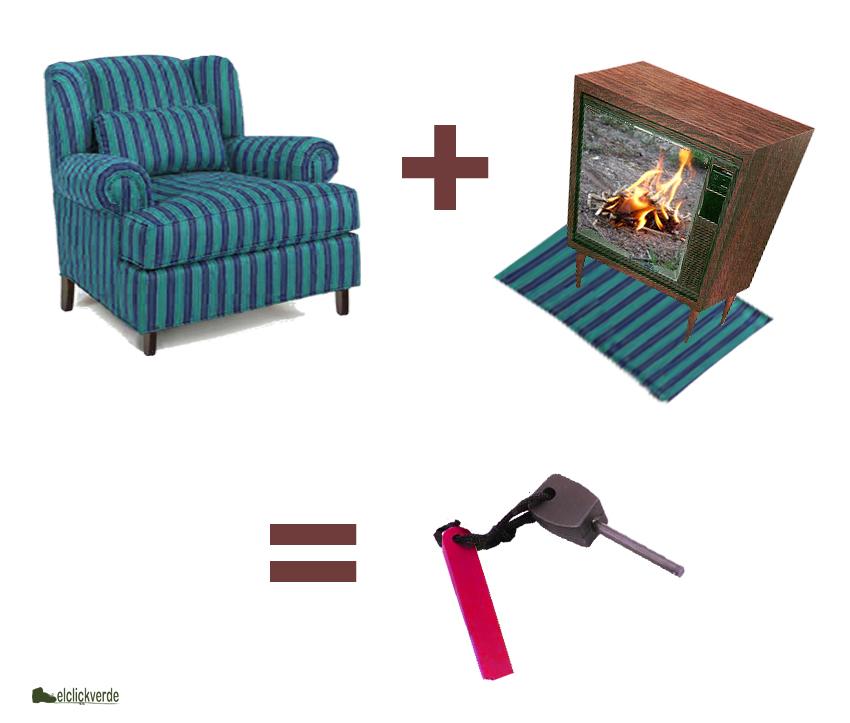 Sofá/sillón + fuego de superviviencia en el televisor = chisquero en casa...