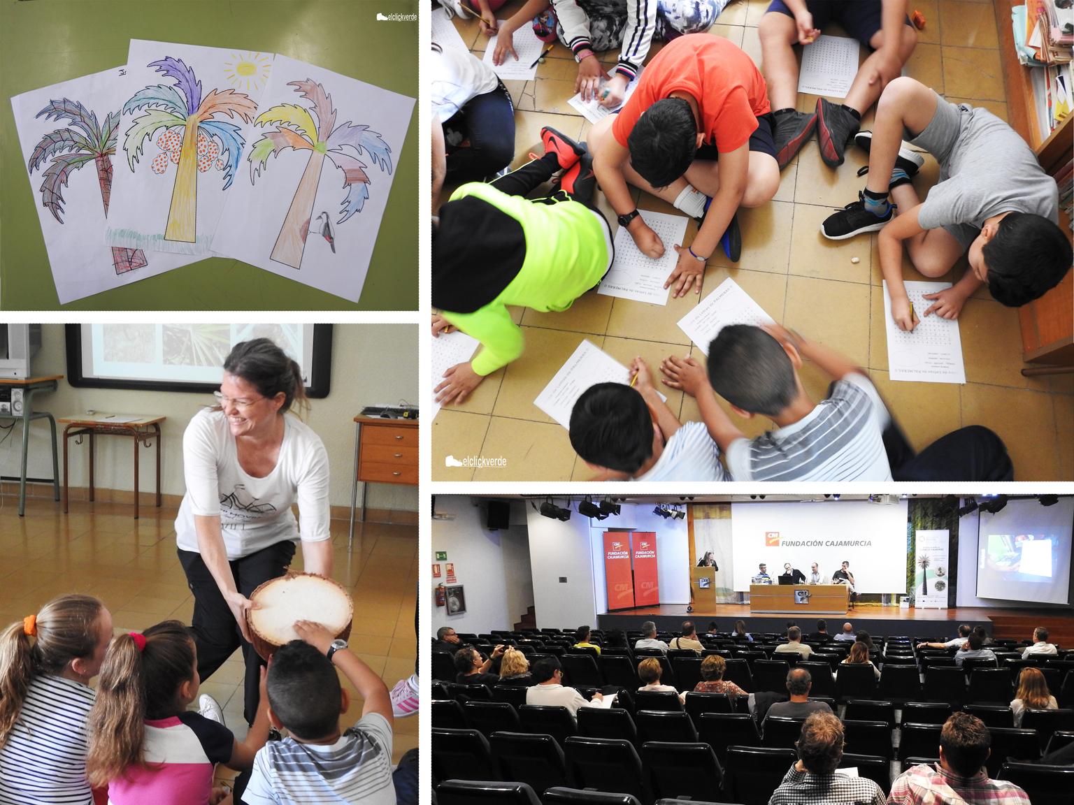 Imágenes de las visitas a los colegios, donde los escolares colorearon dibujos de palmeras, hicieron sopas de letras o tocaron un estípite (tronco de palmera); y un momento de la jornada divulgativa