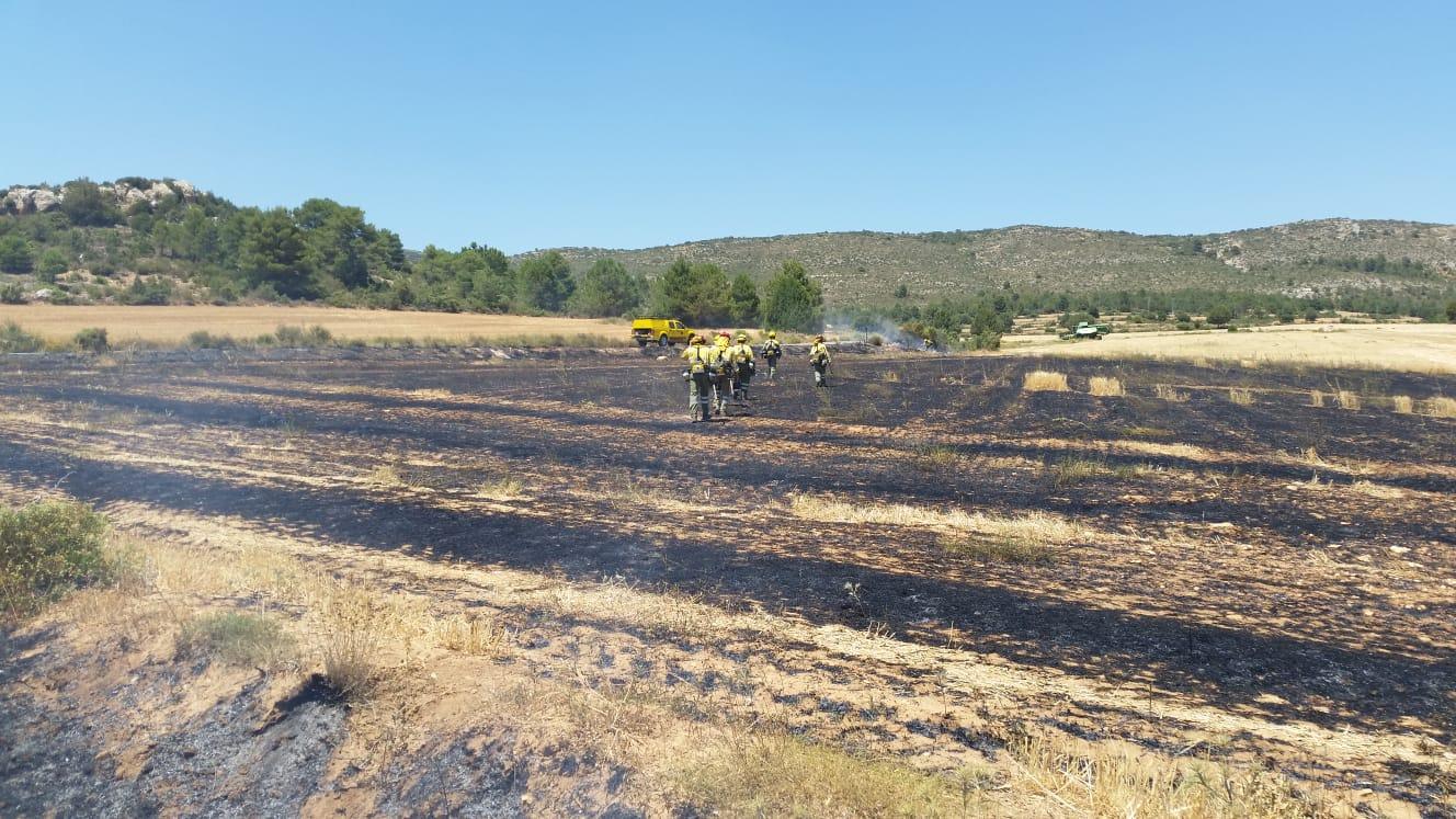Conato de incendio El Sabinar Moratalla, el pasado 25 de julio, controlado por efectivos del Plan Infomur. Imagen: 112