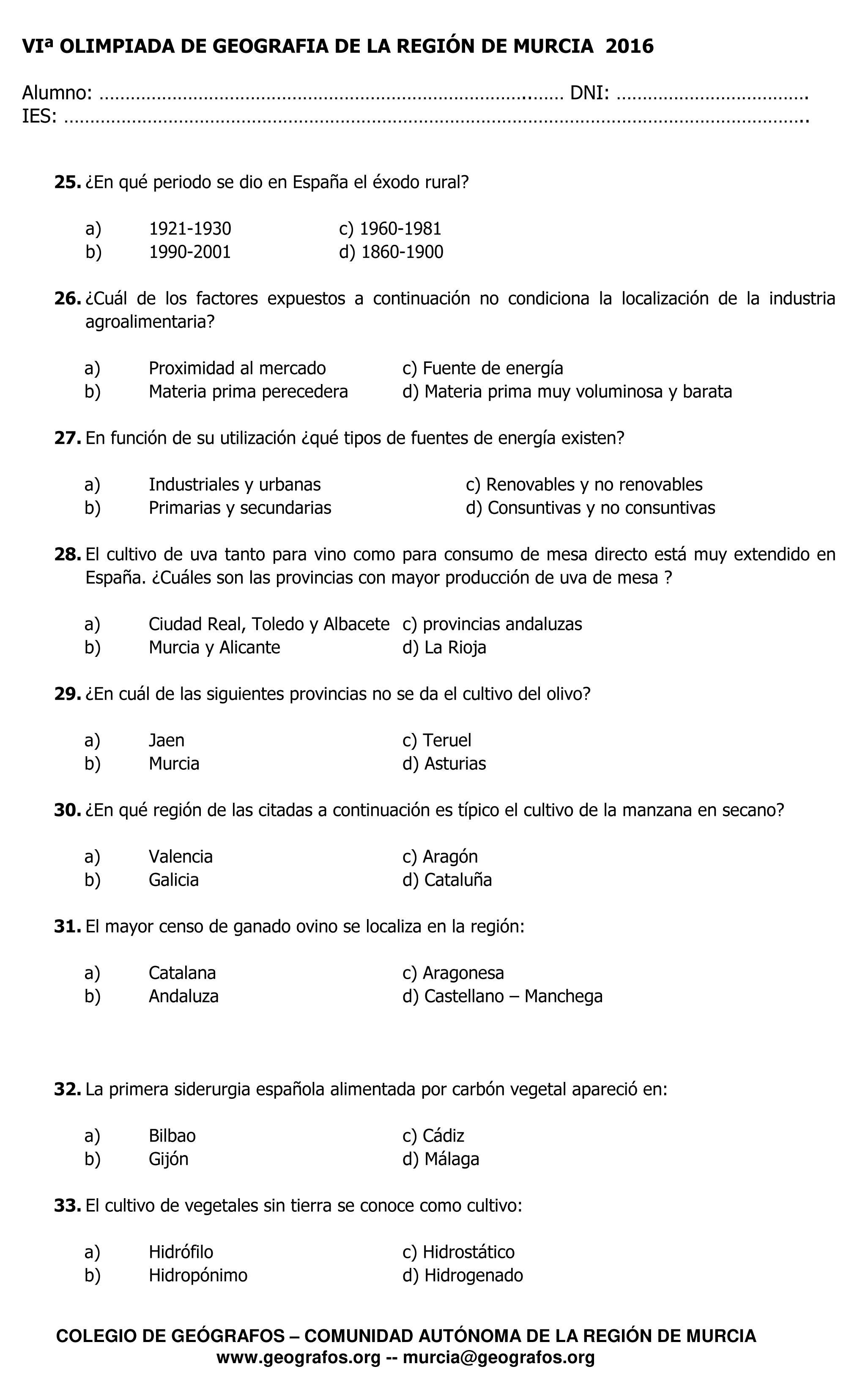 Cuestiones de la VI Olimpiada de Geografía Región de Murcia 2016 - 4