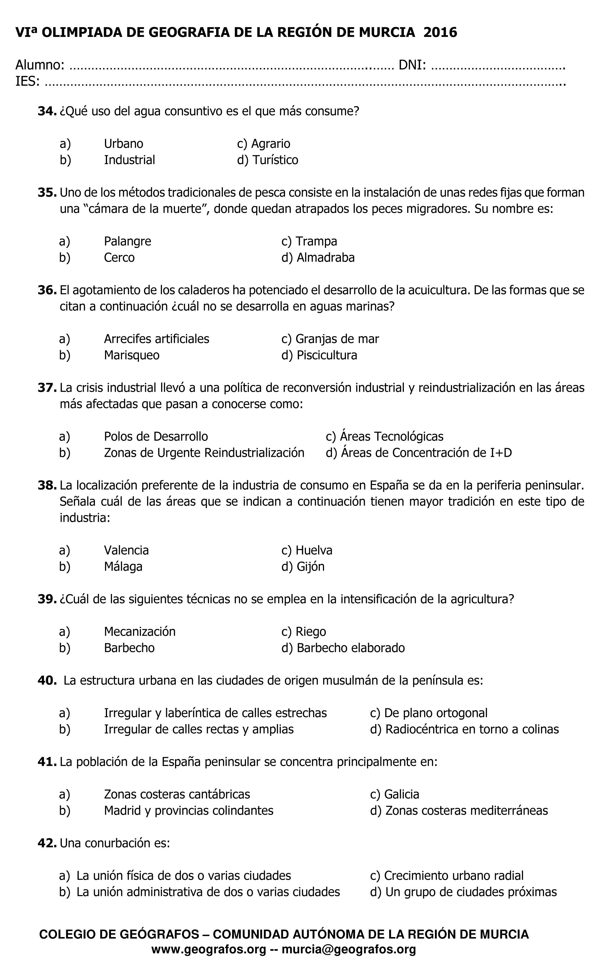 Cuestiones de la VI Olimpiada de Geografía Región de Murcia 2016 - 5