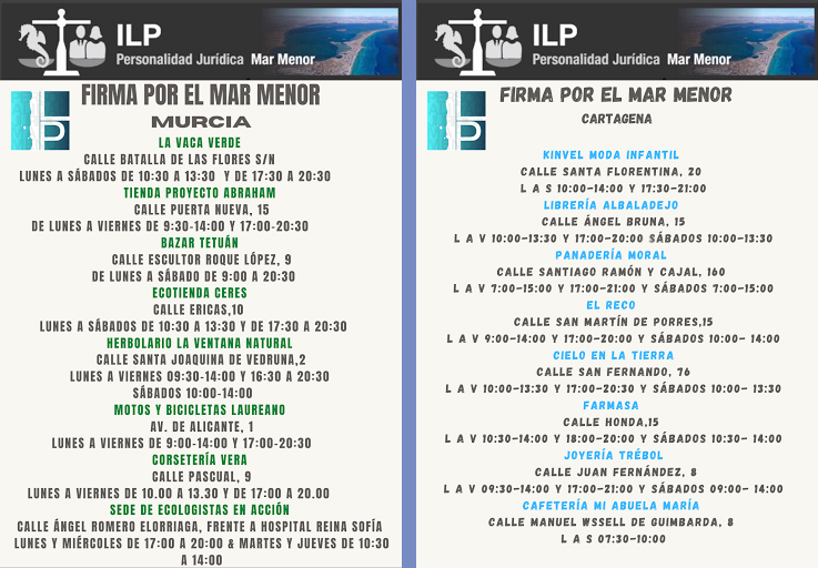 Lugares de firma en Murcia y Cartagena