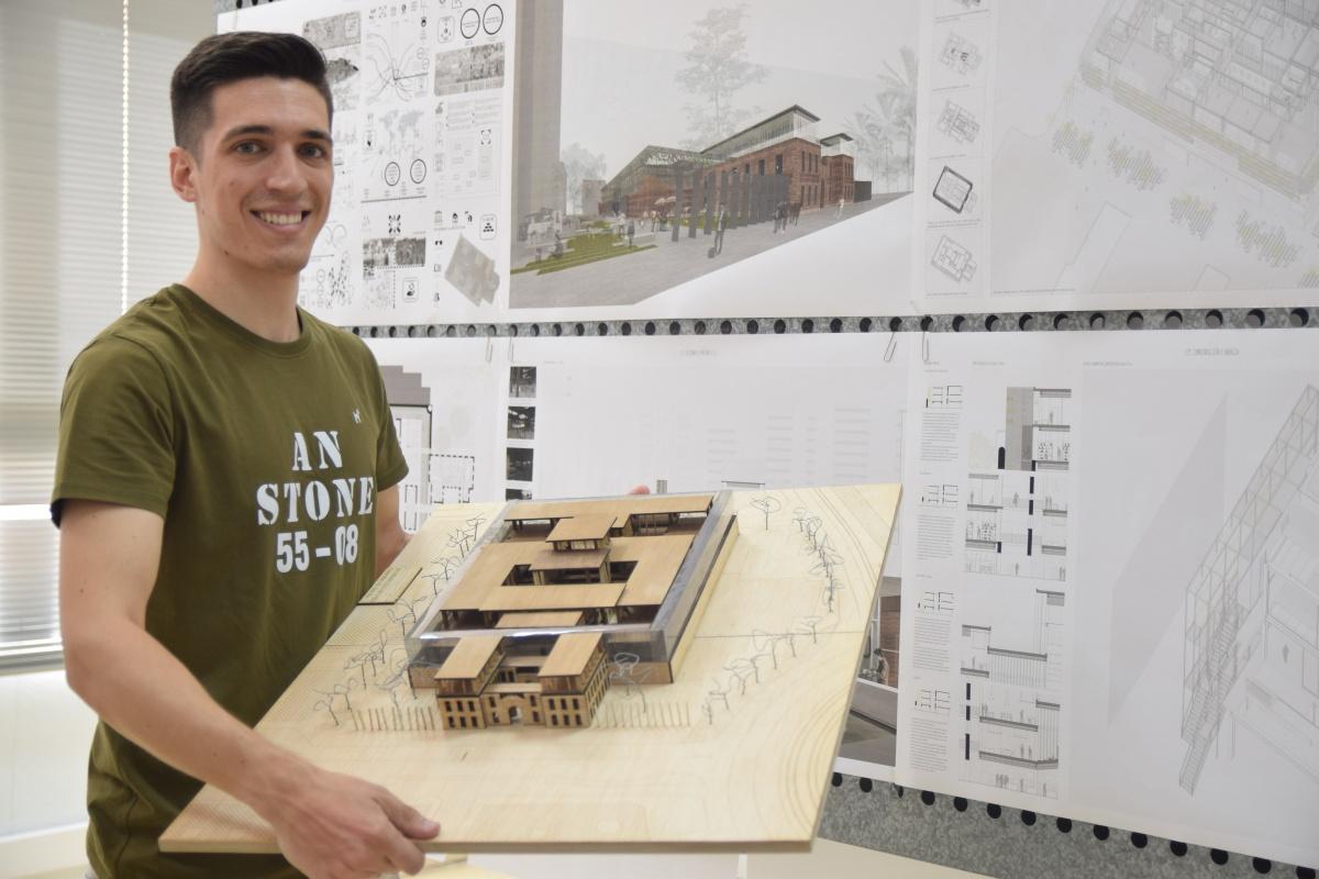 El trabajo final de carrera de Jesús Escribano basa en la gastronomía y la I+D+i agroalimentaria la rehabilitación de la antigua prisión. Imagen: UPCT