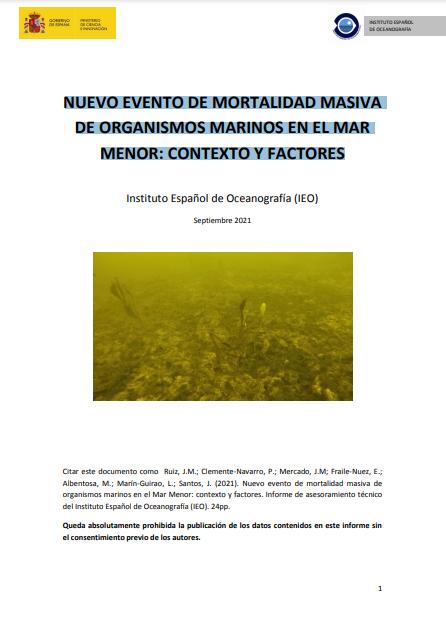 Portada del informe 'Nuevo evento de mortalidad masiva de organismos marinos en el Mar Menor: contexto y factores' del IEO