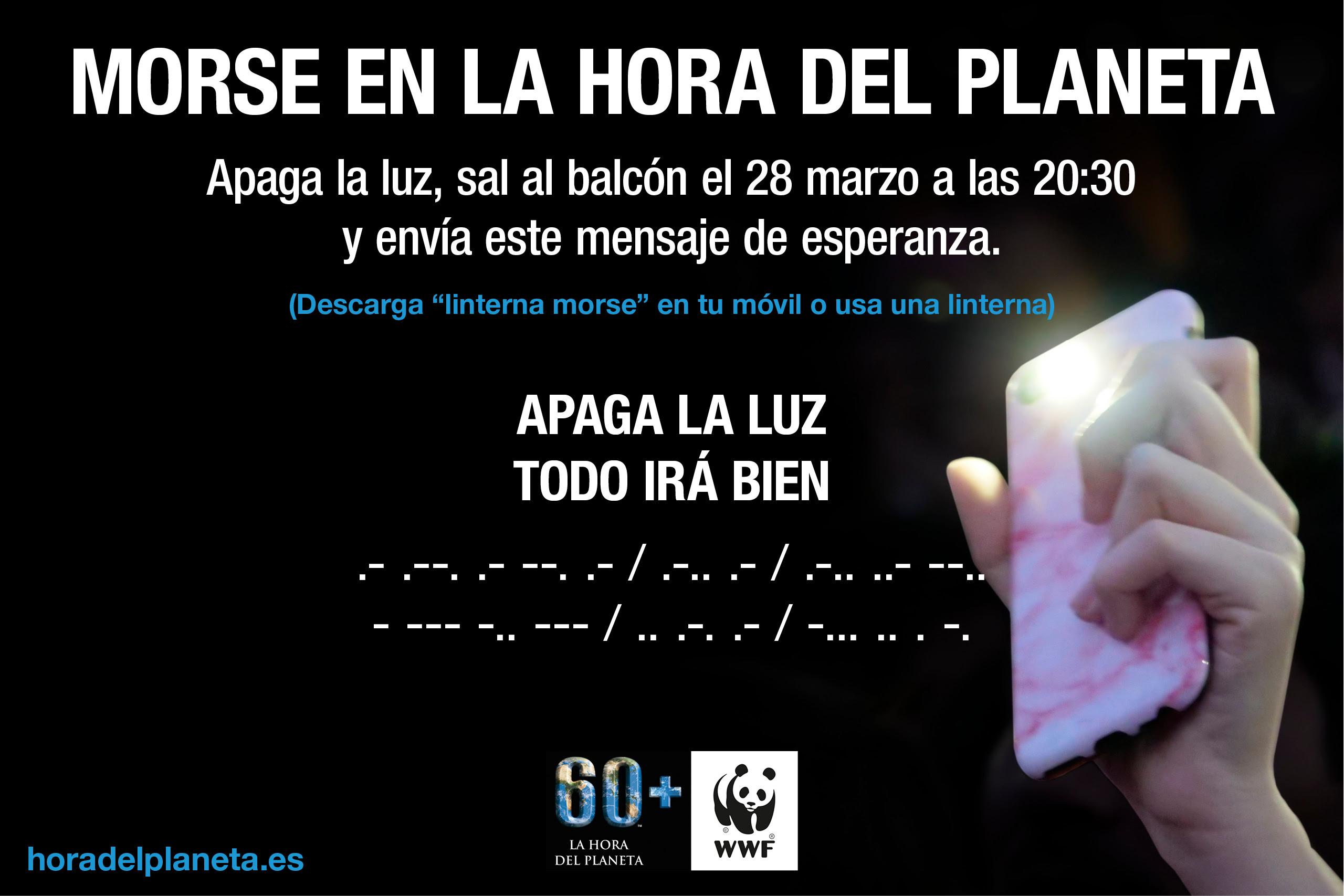 """La Hora del Planeta 2020, con el mensaje en morse:  """"Apaga la luz. Todo irá bien"""". Imagen: WWF"""