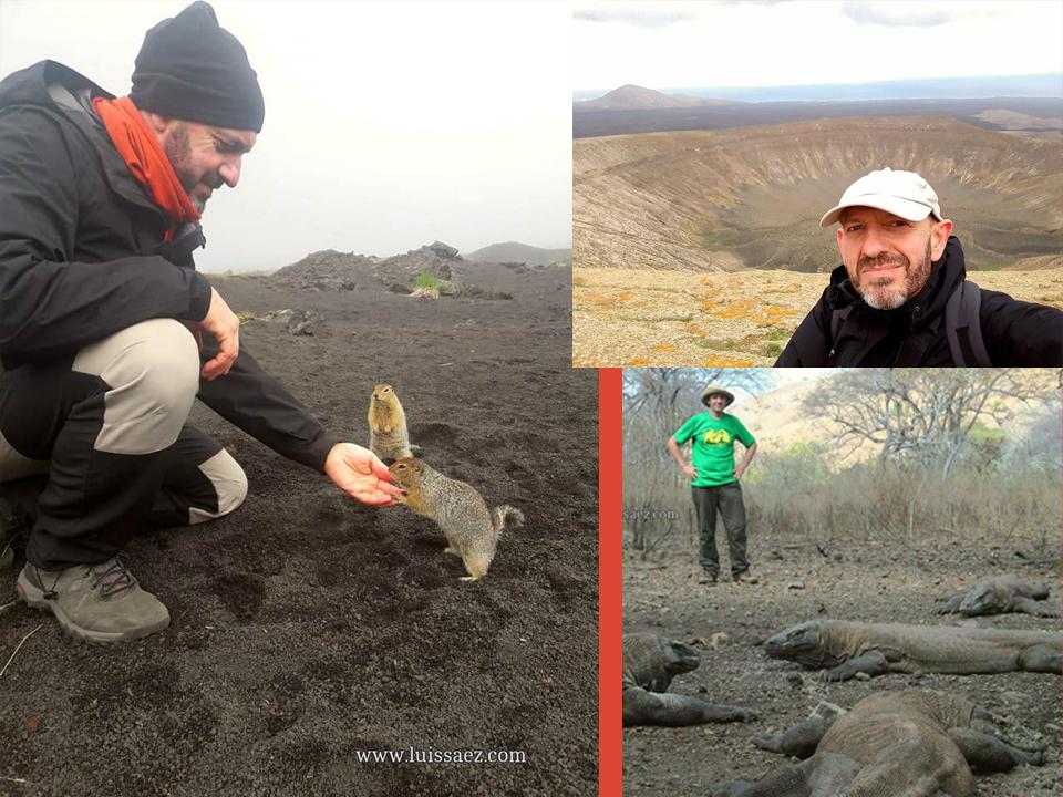 A la izquierda, de viaje por la península de Kamchatka, Rusia. A la derecha arriba, en Lanzarote; abajo, con los dragones de Komodo en Indonesia