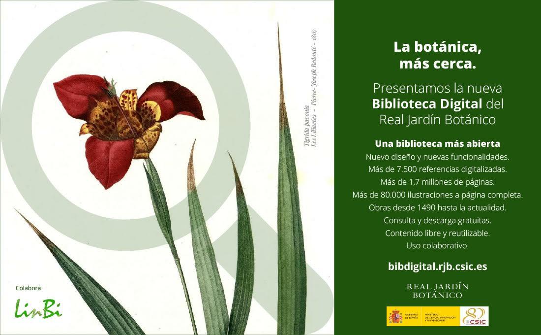 Promo de la la nueva Biblioteca Digital del Real Jardín Botánico de Madrid. Imagen: RJB-CSIC