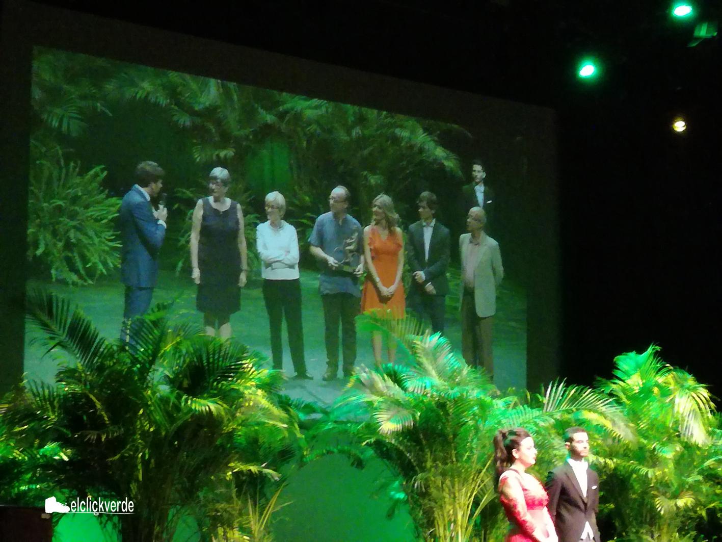 Los premiados, en la pantalla que se exhibía sobre el escenario
