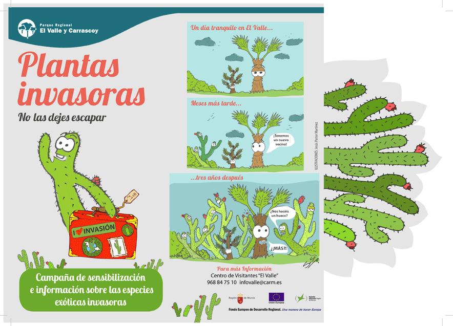 Folleto informativo del Parque Regional El Valle y Carrascoy sobre las plantas exóticas invasoras. Cara 1
