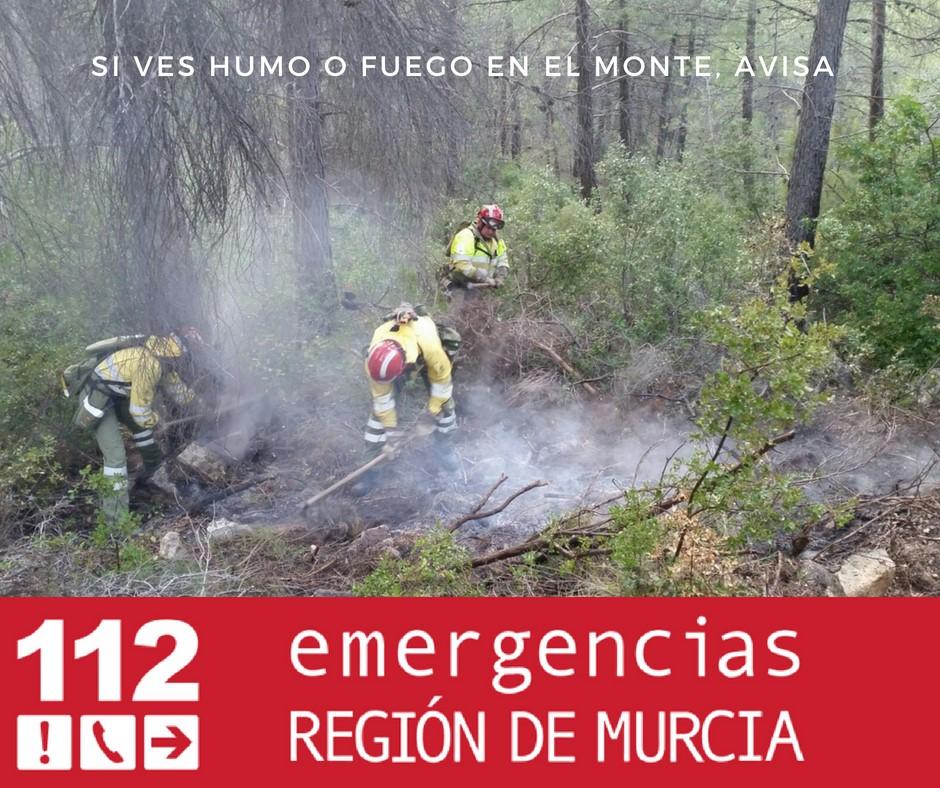 Cartel de actuación en caso de avistamiento de incendio. Imagen: 112