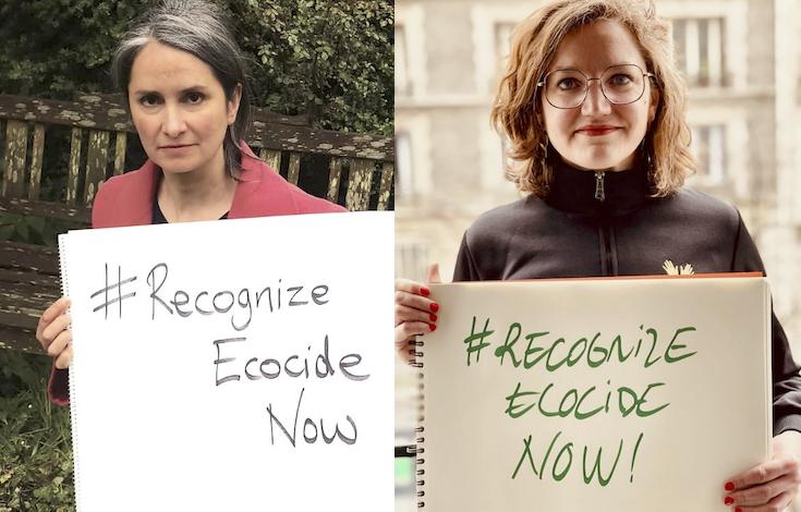 Jojo Mehta, cofundadora de Stop Ecodicio (izda) y la eurodiputada Marie Toussaint, de Verdes/ALE (dcha). Imagen: Stop Ecocidio