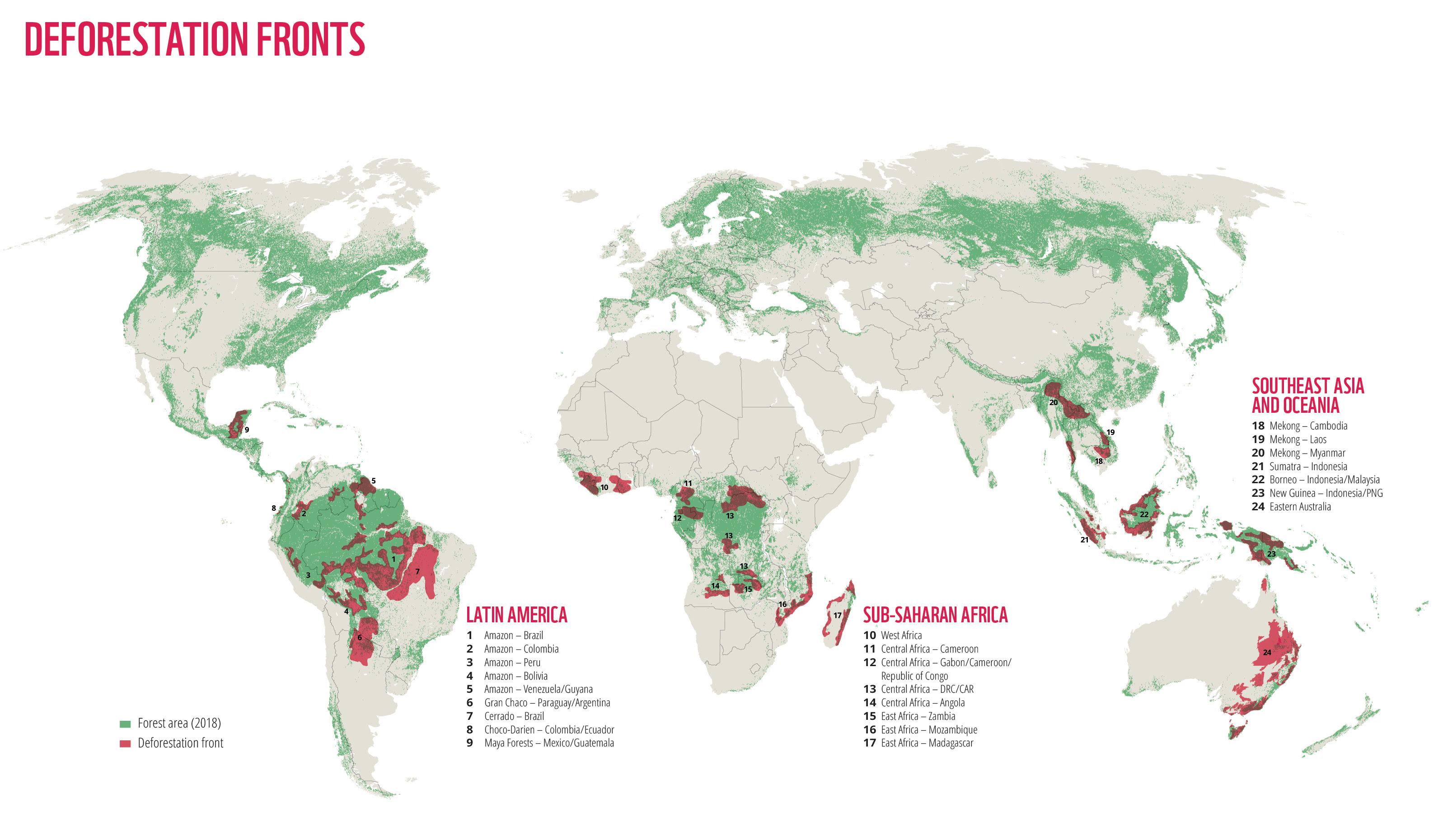 Frentes de deforestación. Imagen: WWF